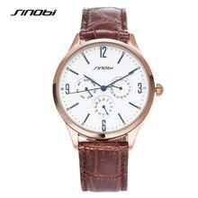 SINOBI Causal Men's Golden Wrist Watches Calendar Leather Watchband Luxury Brand Males Geneva Quartz Clock 2017 Slim Pointer L21