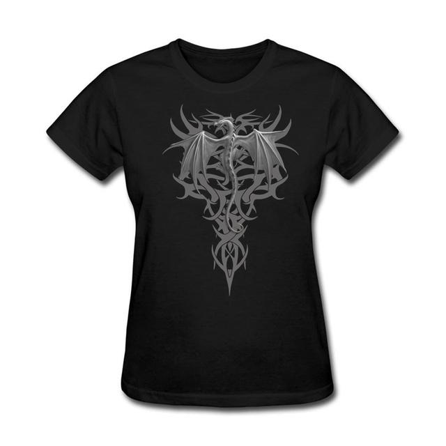 Frete Grátis Adulto Camisetas Mulher Algodão Orgânico Dragão tribal Summen Mulheres Crew-Neck Tees Mangas Curtas legal tops online
