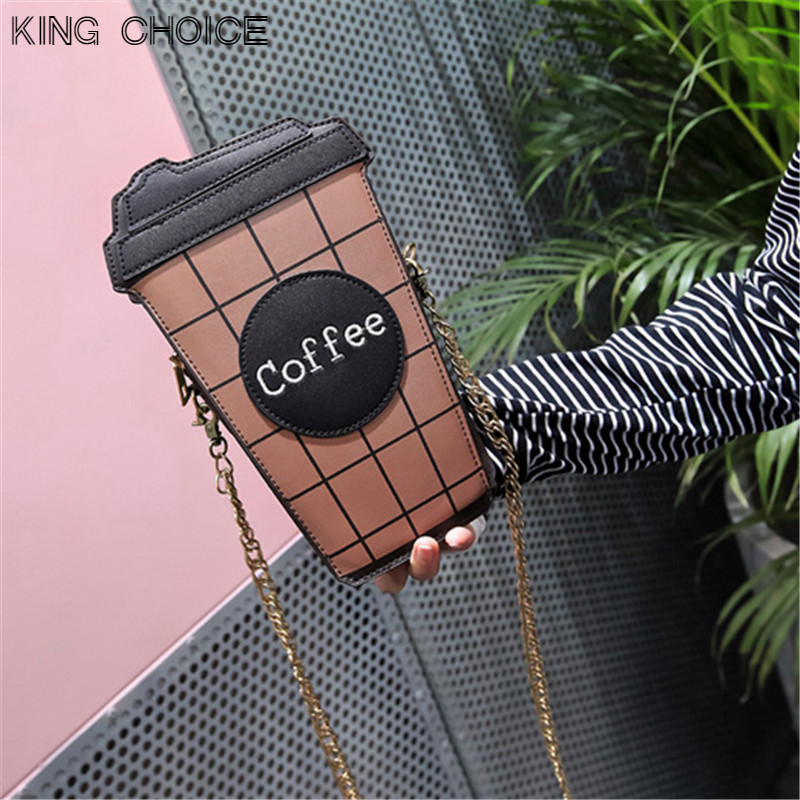 2017 New Coffee Cup Coin Bag Mobile Phone Shoulder Strap Portable Bag Oblique Shoulder Korean Version of The Lovely Mini Bag qiaobao 2018 new korean version of the first layer of women s leather packet messenger bag female shoulder diagonal cross bag