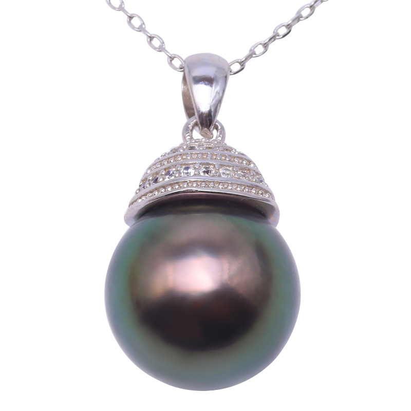 JYX 11.5mm Black Tahitian Pearl Pendant Necklace South Sea Cultured Pendant in 925 Sterling Silver with Zircon 18 inches jyx pearl silver 925 jewelry genuine 12 5mm oval golden south sea cultured pearl 925 pendant necklace in sterling silver 18