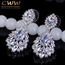 Elegant Chandelier Shape AAA+ Cubic Zirconia Diamond Long Big Crystal Bridal Earrings For Wedding Jewelry (CZ202)
