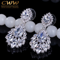 Elegant Chandelier Shape AAA Cubic Zirconia Diamond Long Big Crystal Bridal Earrings For Wedding Jewelry CZ202