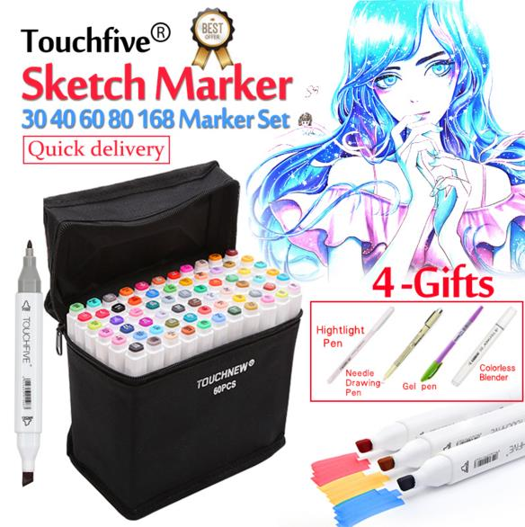 Touchfive 36/40/60/80/168Colors Pen Marker Set Dual Head Sketch Markers Brush Pen For Draw Manga Animation Design Art Supplies touchfive 30 40 60 80 colors drawing marker pen animation sketch art markers set for artist manga graphic based markers brush
