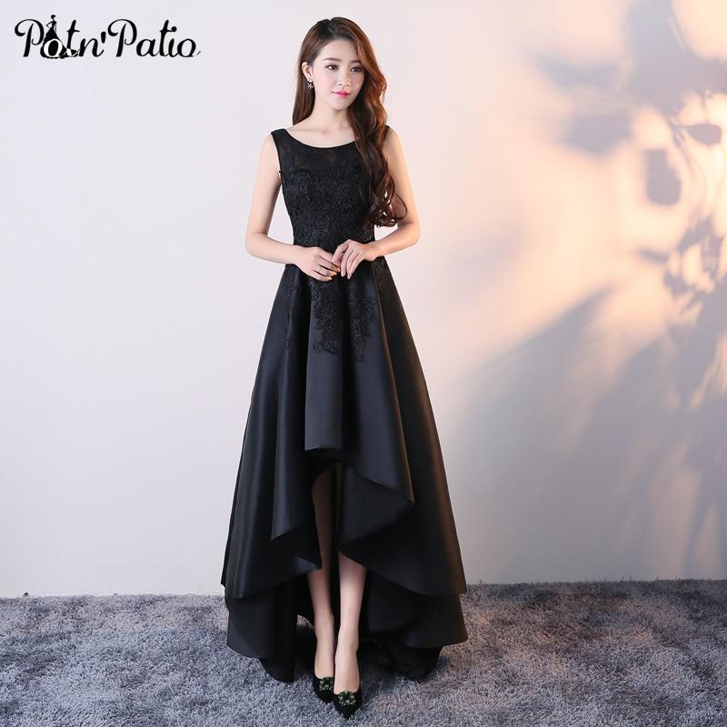1dc26af03ae Sexy Black Prom Dresses 2019 Elegant Sleeveless Lace Crystal Satin Short  Front Long Back Prom Dresses