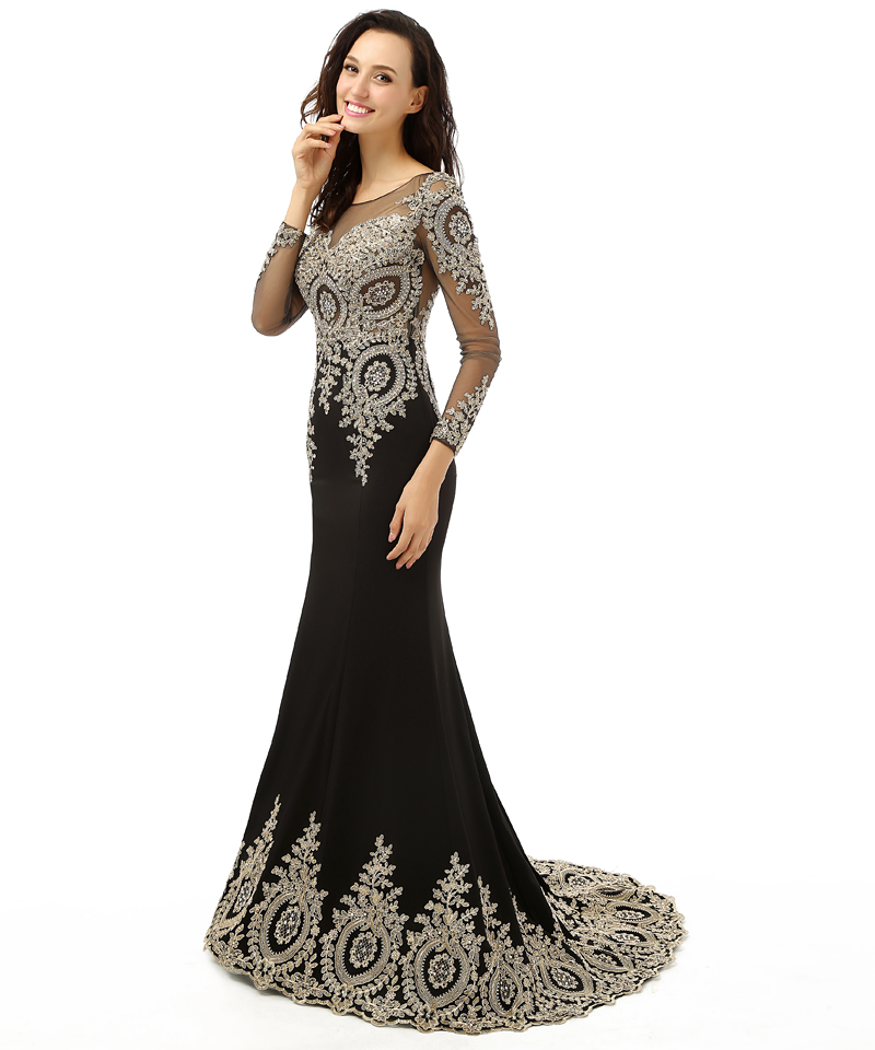 Black Long Sleeve Prom Dresses 2015 Shinny Beads and Applique ...