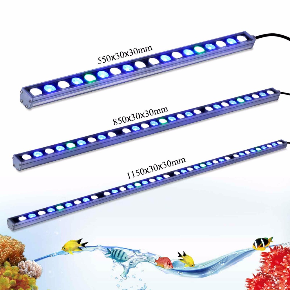 Hot 54w/81w/108w Waterproof LED aquarium light strip white blue UV for reef coral fish tank lighting IP65 aquarium bar lamp