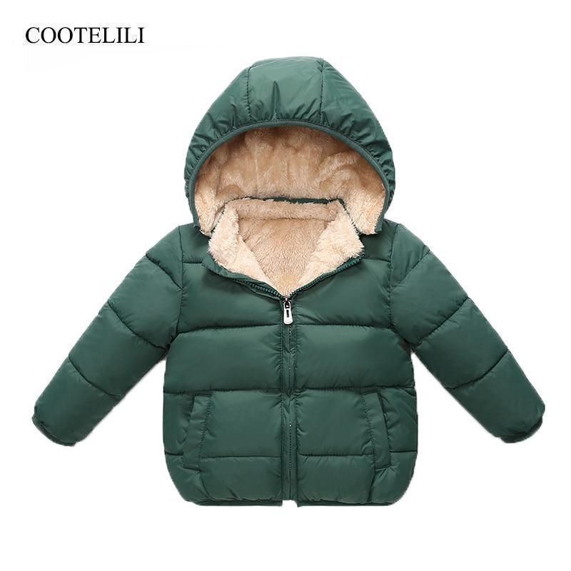 COOTELILI Fleece Winter Parkas Kids Jackets For Girls Boys Warm Thick Velvet Children's Coat Baby Outerwear Infant Overcoat