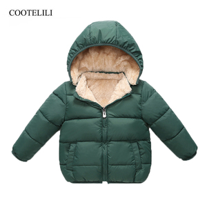 COOTELILI Fleece Winter Parkas Kids Jackets For Girls Boys Warm Thick Velvet Children's Coat Baby Outerwear Infant Overcoat(China)