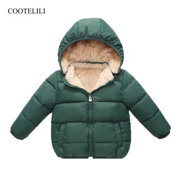 COOTELILI Fleece Winter Parkas Kids Jackets For Girls Boys Warm Thick Velvet Children's Coat Baby Outerwear Infant Overcoat children outerwear coat winter baby boys girls jackets coat infant warm baby parkas thick kids hooded clothes