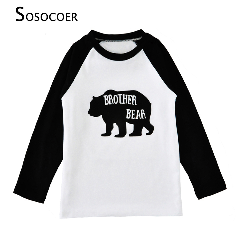 SOSOCOER Toddler Boy Tshirt Cartoon Bear Long Sleeve Baby Girls T Shirts 2017 Autumn Letter Brother Bear Kids T-shirts Clothes