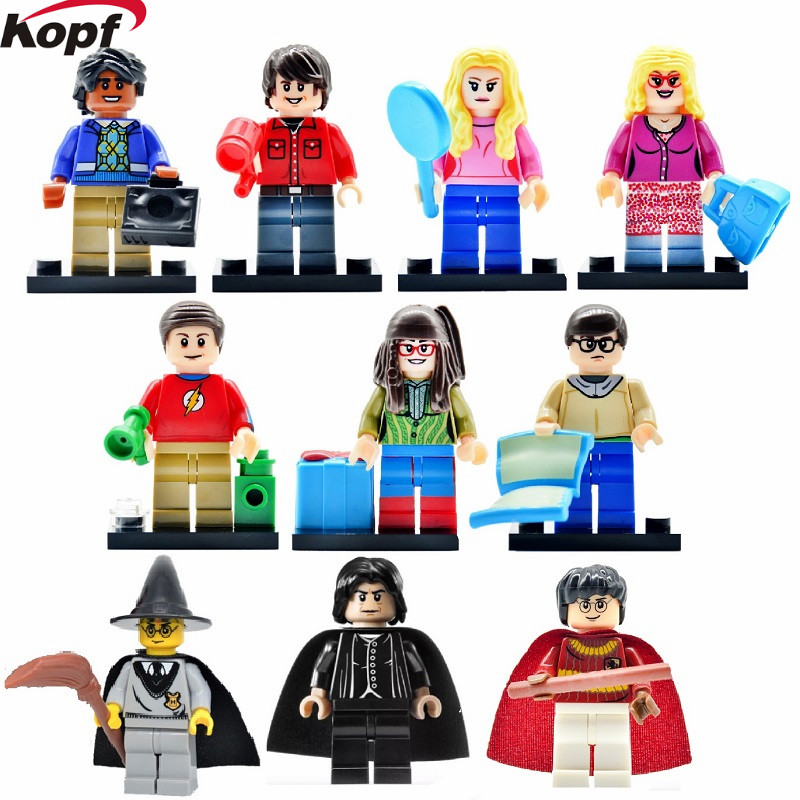 The Big Bang Theory TBBT Harry Potter Hermione Jean Granger Ron Weasley Penny Amy Howard Building Blocks Best Children Gift Toys harry potter ron weasley gregory goyle lucius malfoy argus narcissa professor sprout figures bricks toys for children kl9002