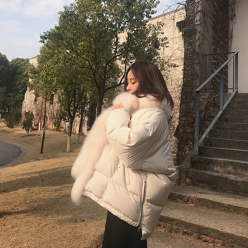 2018 Fashion Big Fur Collar Winter Coat Women Slim Long   Parka   Ladies Thickening Warm Down Jacket Women Plus Size Clothing Female