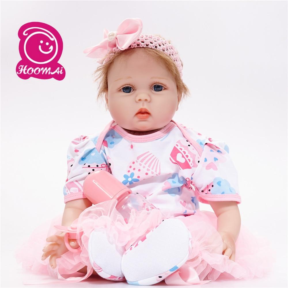 Reborn bébé poupée silicone filles cadeau jouets 22 pouces réaliste nouveau-né poupée playmate bebe reborn 55 cm tissu corps poupée rose princesse