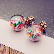 Trendy Korean Rhinestone Glass Ball Earrings Crystal Star Funny Stud For Women Girs Party Wedding Beach Fashion Jewelry