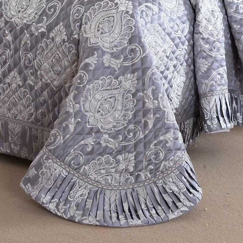 3 штуки королевского размера Роскошные атласные окрашенные жаккардовые покрывала покрывало King Размер набор постельного белья серый красный яркий цвет