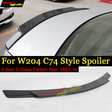 цена на For Mercedes Benz W204 Tail Spoiler Carbon fiber C74 Style 4-door C180 C200 C250 C63 Rear trunk wing rear spoiler Sedan 2007-14