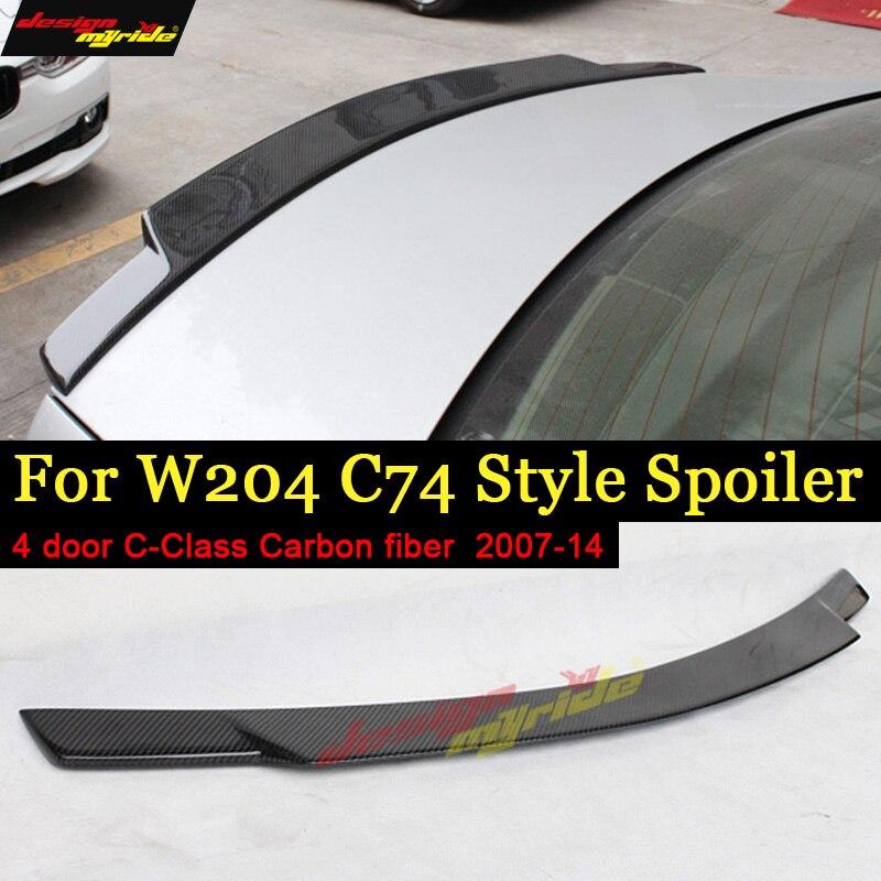 Pour Mercedes classe C 4 portes W204 C204 S204 Spoiler en Fiber de carbone voiture arrière bec de canard aile C74 Look pas de perceuse C180 C200 C250 2007-14