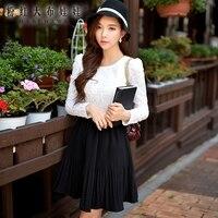 Dress Authentic Brand 2015 New Korean Lace Stitching Large Swing Short White Dress Big Sizes Autumn