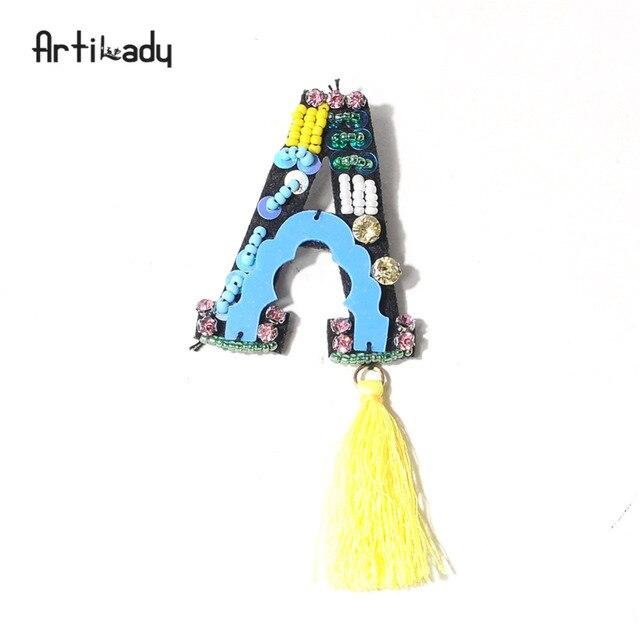 Artilady разноцветные бусы ручной работы брошь булавки письмо с кисточкой брошь для женской одежды ювелирные изделия подарок партии дропшиппинг