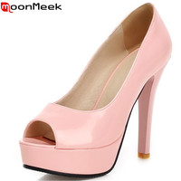 2015 New Fashion Peep Toe Green Nude Pink Women Pumps High Heels Prom Wedding Shoes Woman