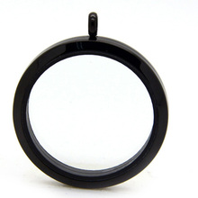 10pcs/lot 30MM Black Floating Charms Memory Locket Stainless Steel Magnetic Glass Pendant