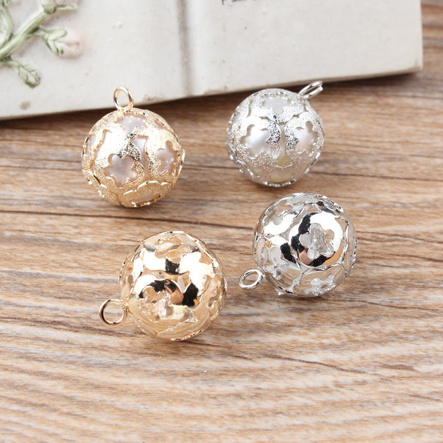 Newest Pearls/Rhinestone Core Alloy gold/Silver Plated Flowers Hollow Rounds Shape Jewelry Charms diy Earring/Necklace pendants