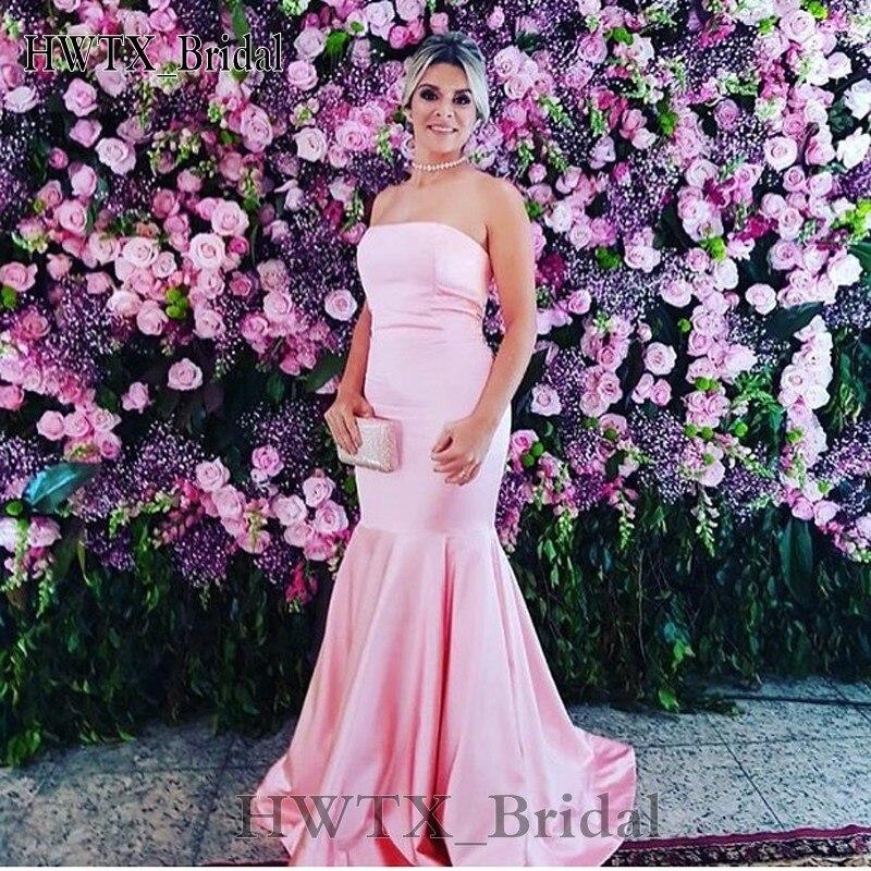 Nouveau Simple mère de la mariée robes longue élégante rose sans bretelles sirène Satin 2018 pas cher grande taille de mariage robe formelle