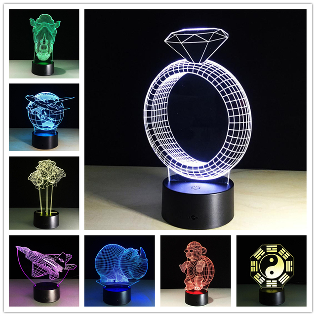 The New Entertainment Model 3D Lamp LED Colorful Atmosphere Remote Vision Stereo Lamp Custom Acrylic Lamp
