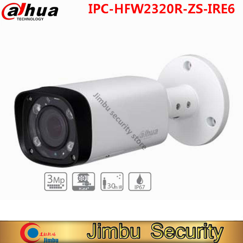 Original Dahua 3Mp IR Bullet Network Camera card slot up to 128GB 2.7~12mm varifocal lens IR 60m IP67 PoE IPC-HFW2320R-ZS-IRE6 dahua 3mp ir waterproof