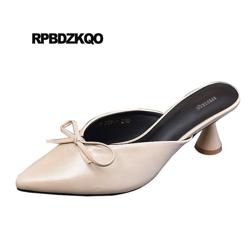 Bow Strange Pumps Sandals Block Heels Slingback Beige Pointed Toe Size 4 34 Korean Fashion Ladies Mules Slipper High Shoes Thick round toe beige strap ladies metal high heels medium chunky modern block slingback size 4 34 sandals shoes 2017 summer pumps new