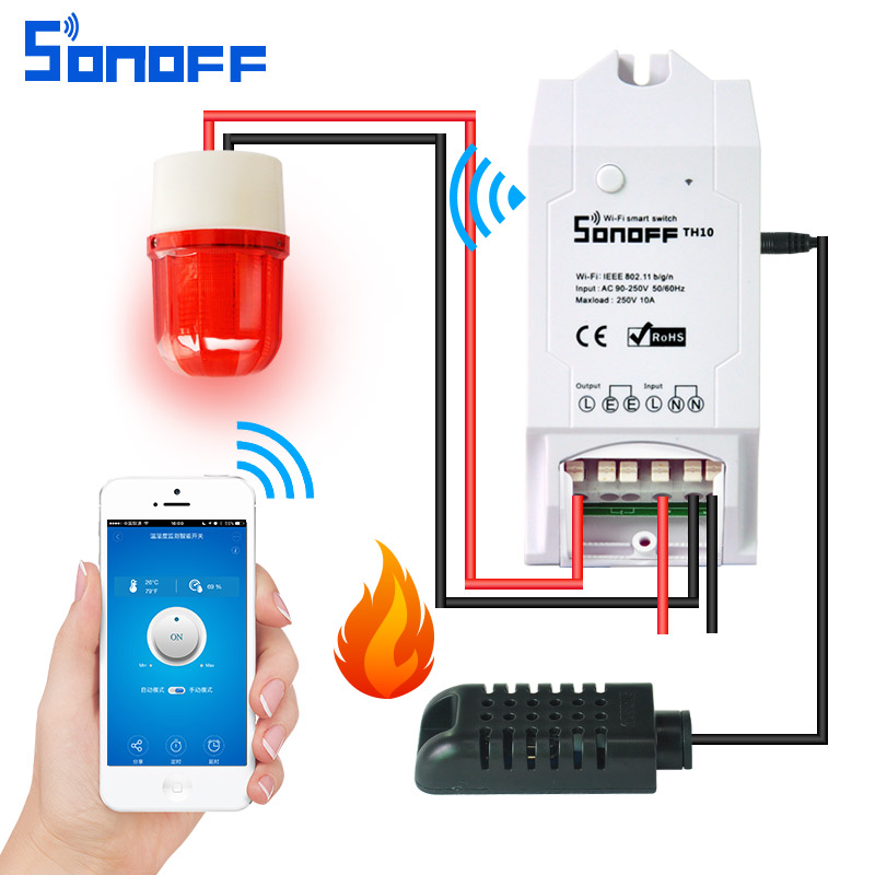 sonoff th 16a/10a Temperature And Humidity Monitoring WiFi Smart Switch Controller Sensor with timer wireless home ds18b20