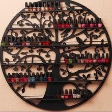 Настенный 6 ярусный лак для ногтей держатель дерево силуэт круглый металлический салон настенный художественный дисплей