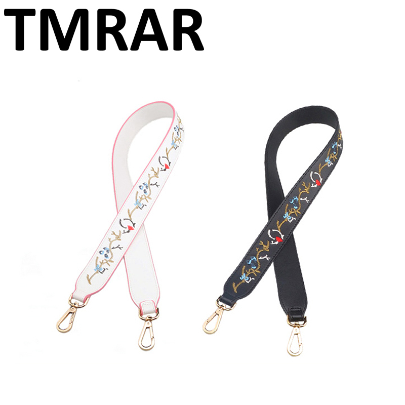 New 2018 Fashion PU Leather shoulder straps with embroidery flower chic bag necessary strap you women shoulder belts qn079
