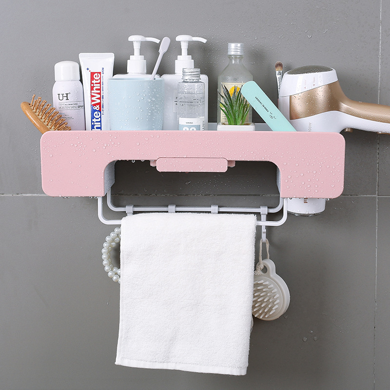 Multi function Storage rack Wall towel rack Stacks Free punching for Toilet Shower Room Kitchen Free punching