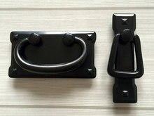 2.2 3 Vintage Style Retro Dresser / Drawer Pull Handles Black Square Cabinet Pulls Door Handle Drop Bail Back Plate