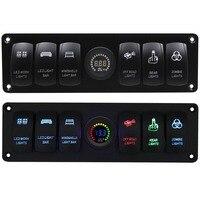 For Car Marine Boat 6 GANG Rocker Switch Panel Circuit Breaker LED Voltmeter RV