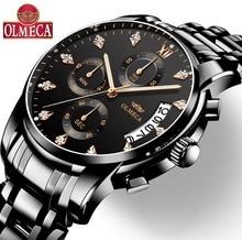 Erkek saatler Top marka lüks OLMECA saat Relogio Masculino 3ATM su geçirmez saatler Chronograph kol saati Reloj Hombre erkekler için
