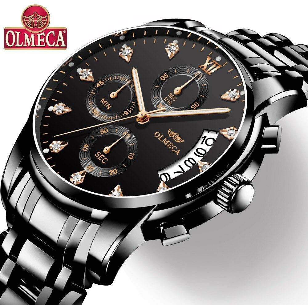 Mens Montres Haut Marque De Luxe OLMECA Horloge Relogio Masculino 3ATM Étanche Montres Chronographe Montre-Bracelet Reloj Hombre pour Hommes
