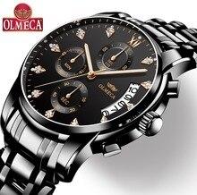 Mens שעונים למעלה מותג יוקרה OLMECA שעון Relogio Masculino 3ATM עמיד למים שעונים הכרונוגרף שעוני יד Reloj Hombre עבור גברים