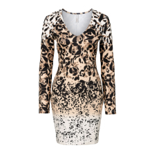 Casual tropical floral Vestidos Fiesta Lady Deep V-neck Sexy Clubwear Leopard Bodycon Long Sleeve Women Elegant Dresses 012