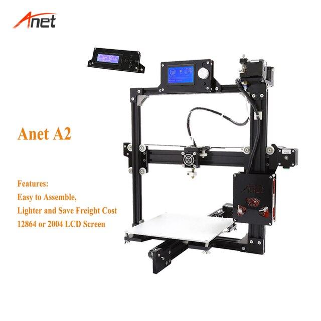 Anet A2 Large Printing Size Impresora 3d Full Metal Frame Easy Assembly 3d Printer Kit 2004/12864LCD 10m filament Stampante 3d 1