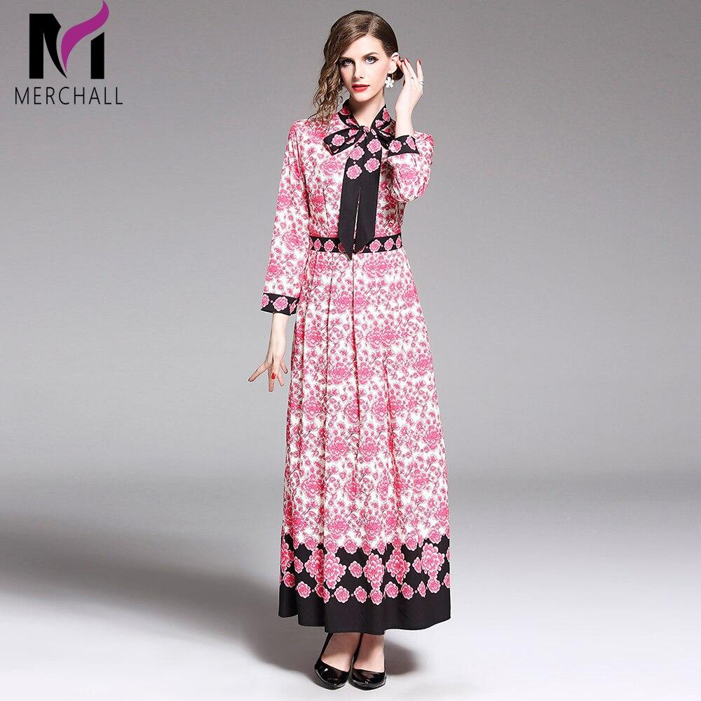Haute qualité Designer piste 2019 printemps femmes mode fête bureau plage Boho abeilles ceintures Chic Vintage imprimé à manches longues robe
