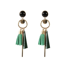 1pair Europe and America Personality Fashion triangle geometric wood earrings Retro female tassel long women Jewelry