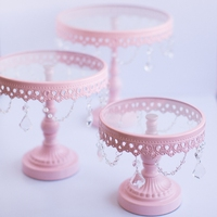 Pink metal wrought iron cake stand Glass cake dish fruit plate wedding crystal decoration