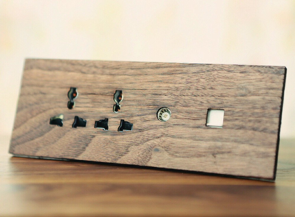 Panneau de prise d'alimentation en Circuit fermé 6 trous + réseau + TV en bois de noyer noir