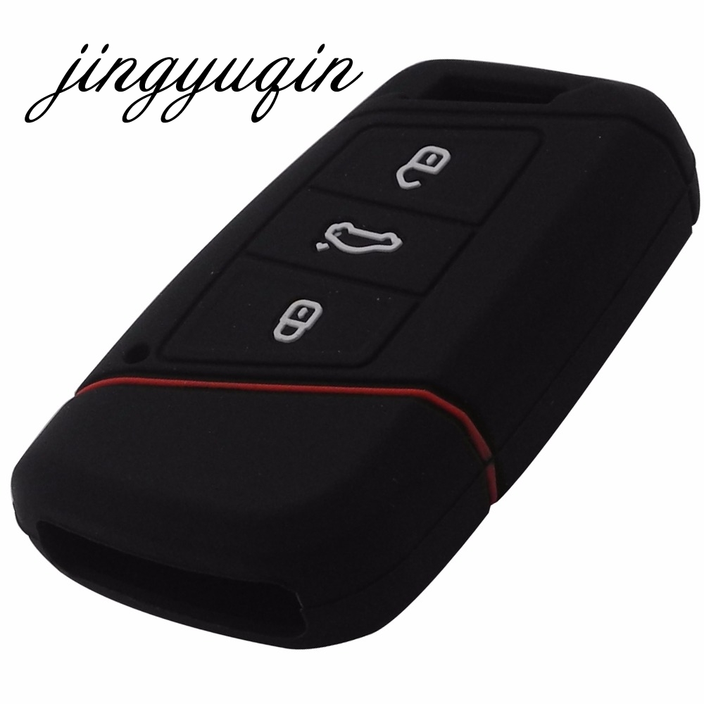 Image 2 - jingyuqin Silicone key fob case holder for VW Skoda Superb Magotan Passat B8 A7 Golf Smart Remote Protector Skin Cover-in Key Case for Car from Automobiles & Motorcycles