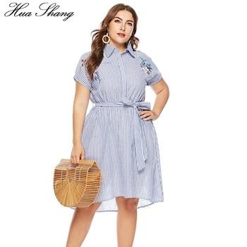 cf841132a Azul rayas vestido de las mujeres más el tamaño abajo Collar manga corta  bordado Floral vestido Casual rodilla longitud túnica playa vestidos