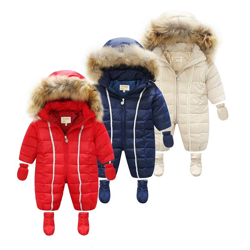 Bébé hiver barboteuses bébé fille vêtements chauds 3 pièces/ensemble garçons vêtements d'extérieur enfants combinaison bébé naturel fourrure vers le bas snowsuit