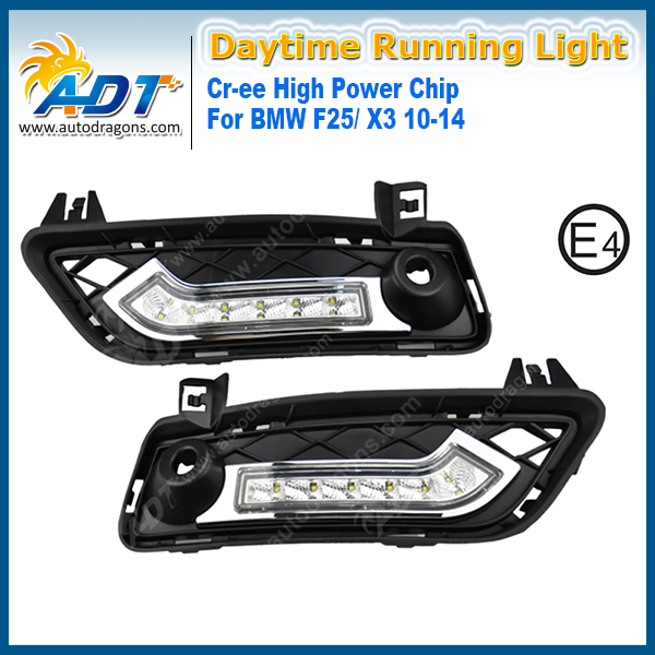 for BMW F25/X3 2010-2014 Xenon White LED Car Daytime Running Light 6W*2 Cr ee High power Headlights DRL Daylight with Turn Light bdi avion cherry 8928