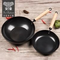 2pcs Cast Iron Wok Cook Pot NO COATING NON STICK Fine IRON Pan COOKING Home Cooking
